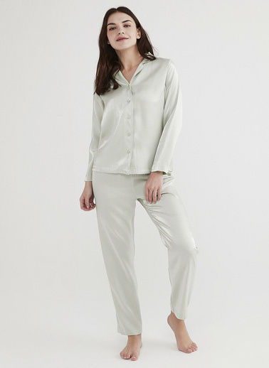 Penti Mint Yeşili Mint Saten Pijama Takımı Yeşil